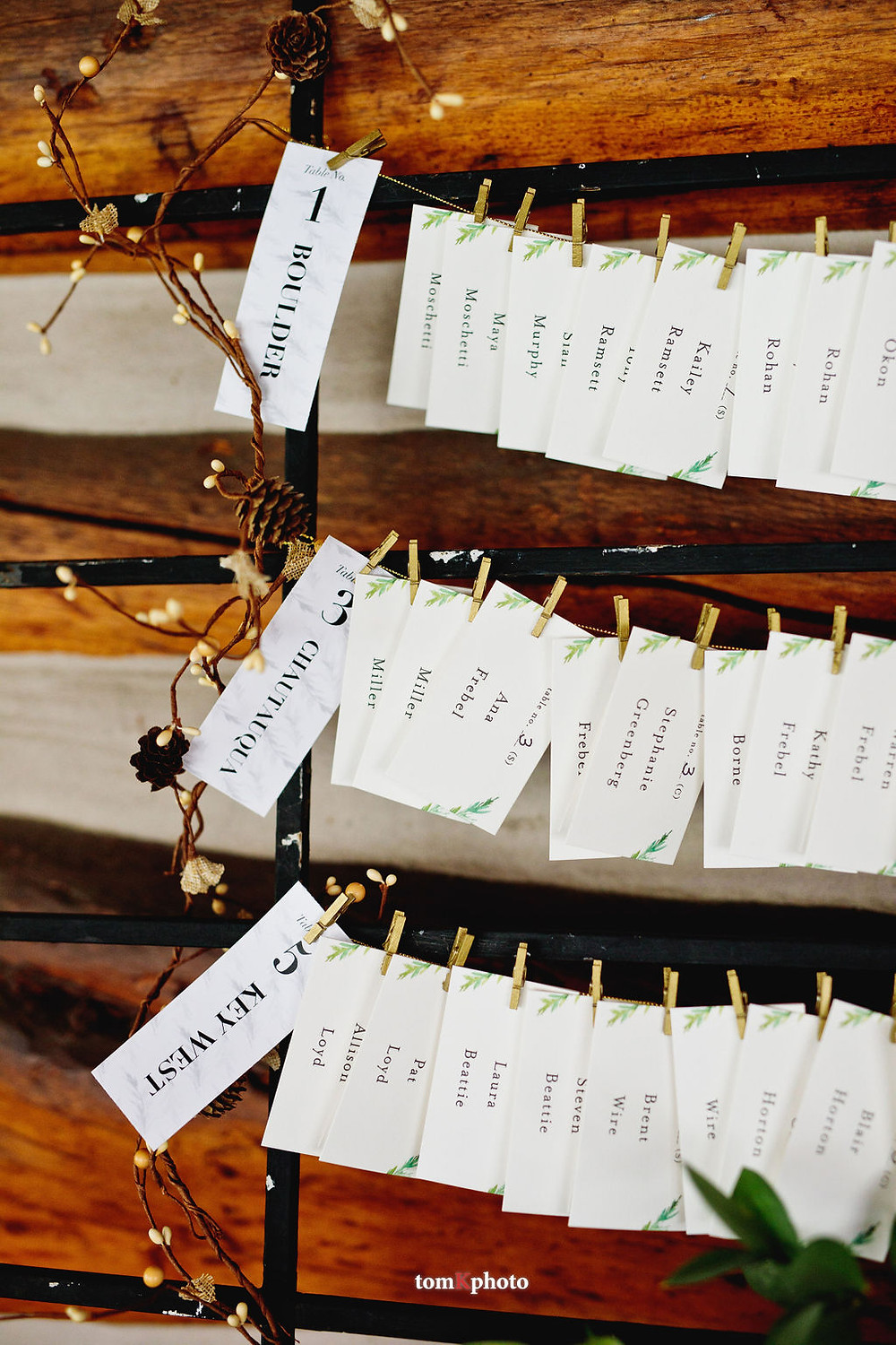 Keystone Wedding Planner - Keystone Ranch Wedding - Escort Cards
