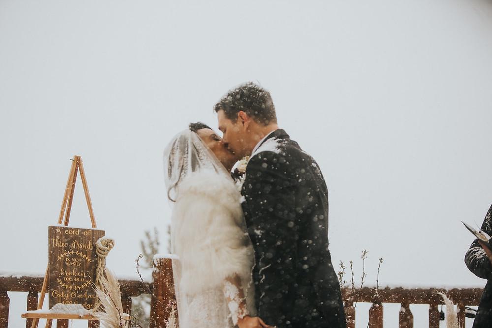 Breckenridge Wedding - Breckenridge Winter Wedding - The Lodge at Breckenridge Wedding - Bride and groom