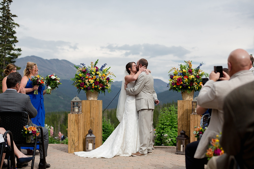 Breckenridge Wedding - Ten Mile Station Wedding - First Kiss