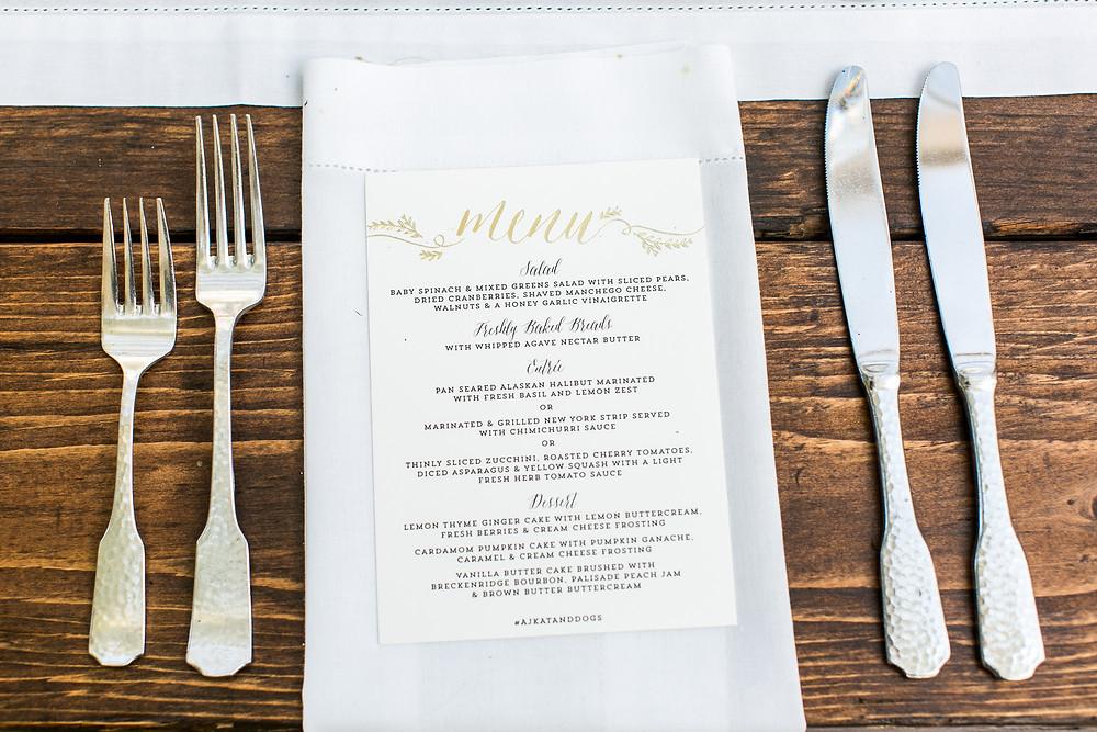 Colorado Wedding Planner - Colorado Wedding Menu