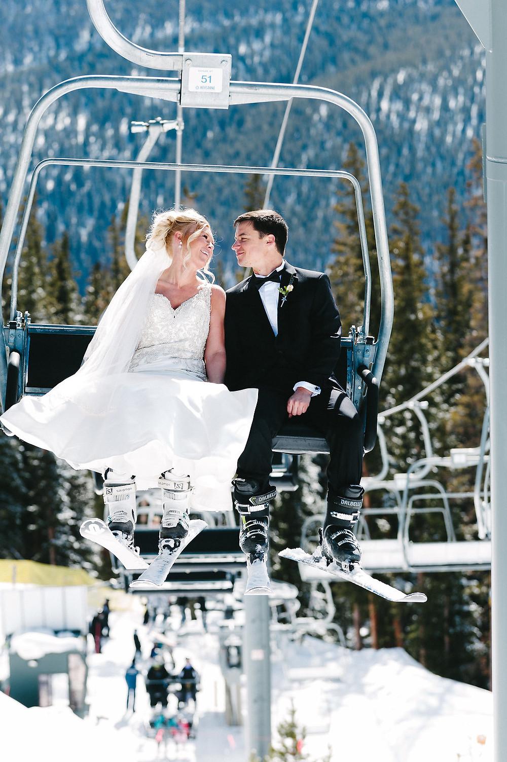 Colorado Winter Wedding - Colorado Winter Wedding Couple Ski Lift