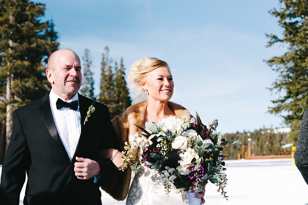Colorado Winter Wedding - Father walking his daughter down the aisle