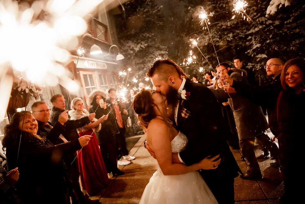 Silverthorne Pavilion Wedding - Winter Wedding - Sparkler Exit