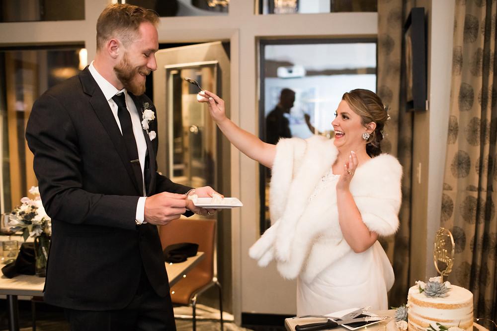 The Lodge at Breckenridge Wedding - Blue River Wedding Reception - Cake Cutting