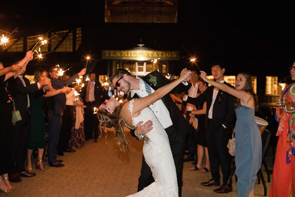 Breckenridge Wedding, Sparkler Exit, Ten Mile Station Wedding
