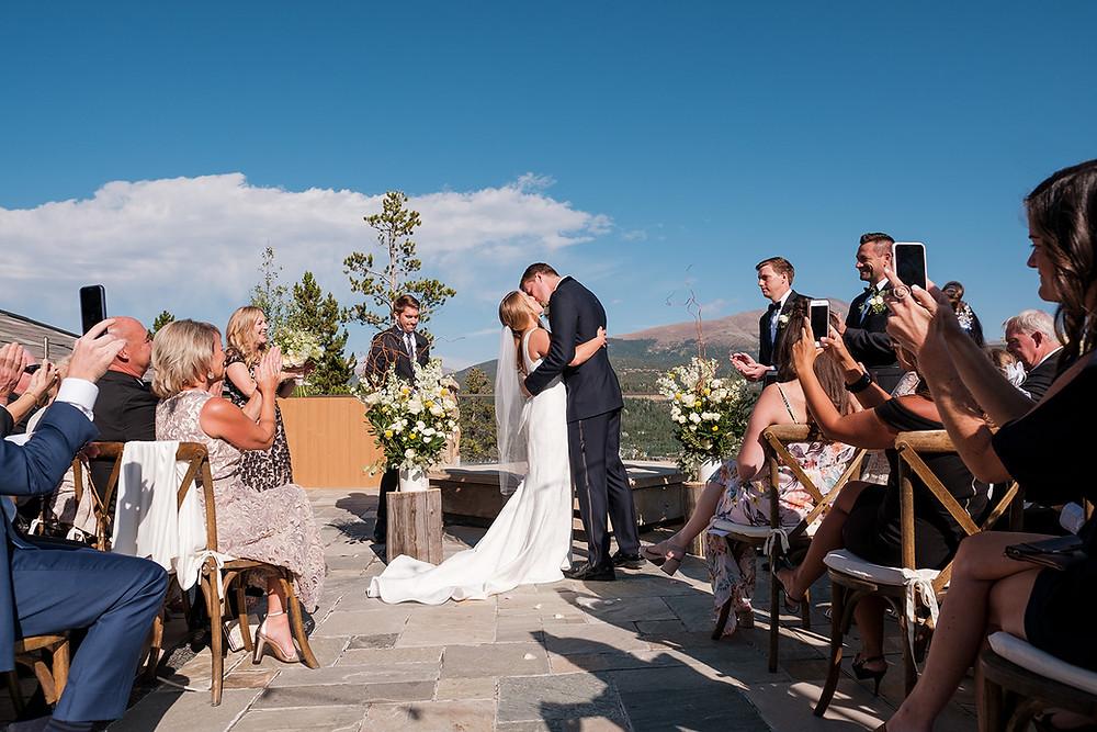 Breckenridge Wedding - Chateau of Breckenridge Wedding - First Kiss