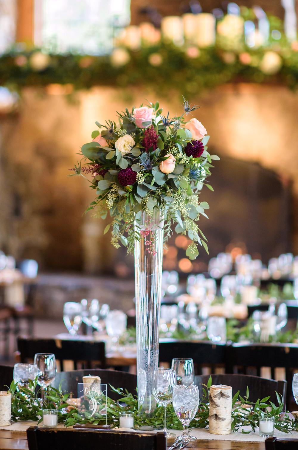 Keystone Wedding Flowers, Centerpiece, Timber Ridge Wedding