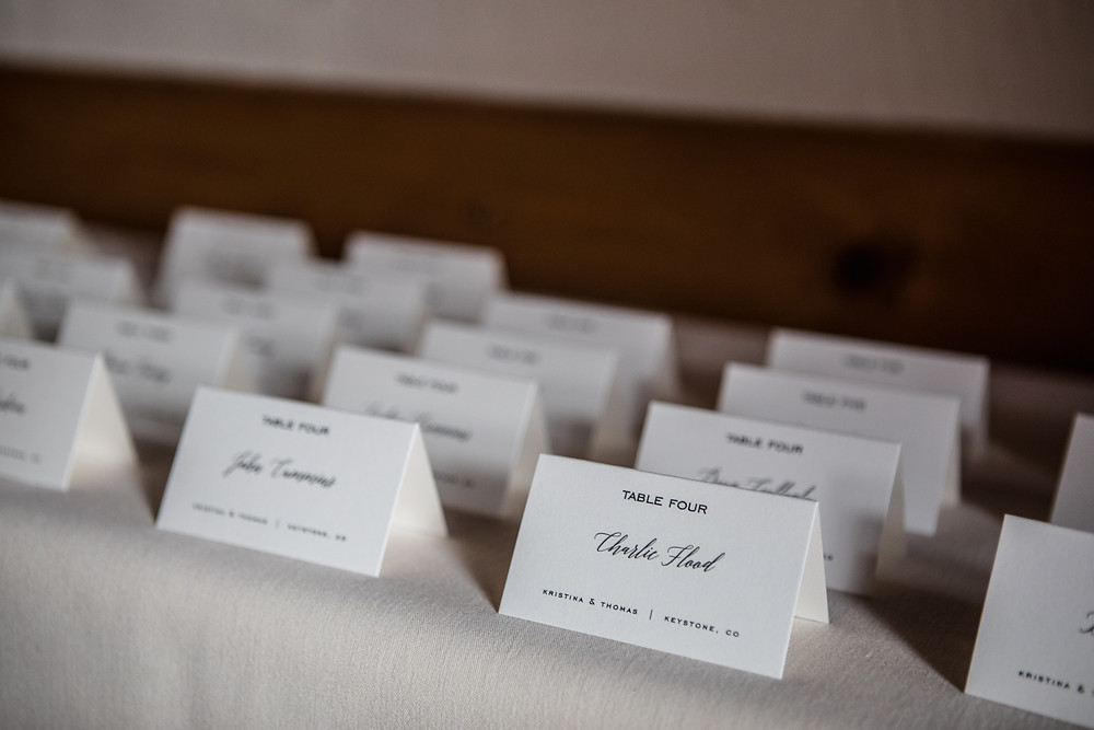 Keystone Wedding Planner - Alpenglow Stube Wedding - Escort Cards