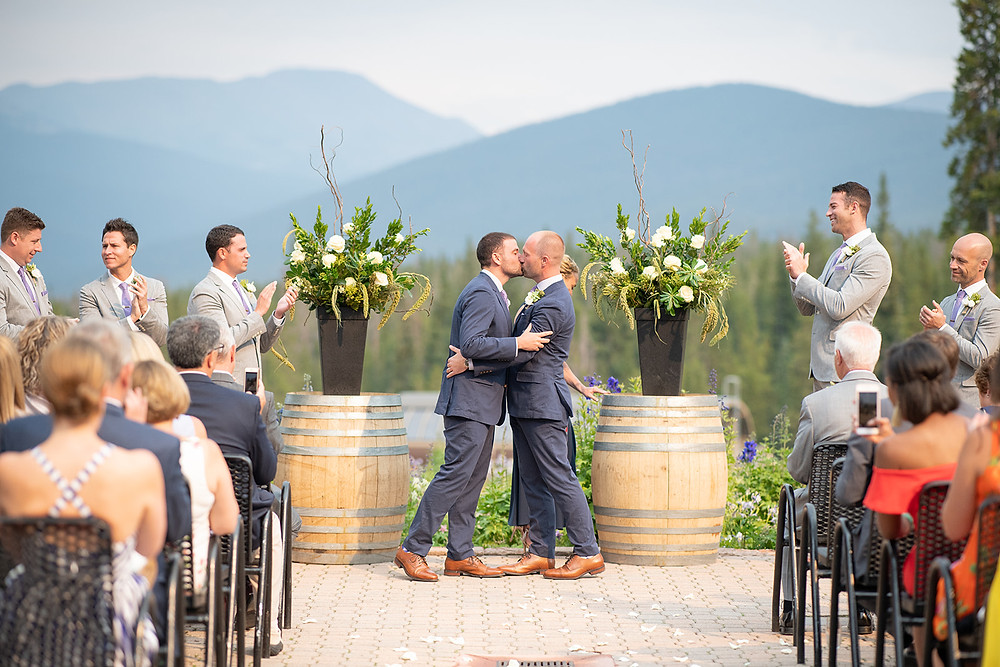 Breckenridge Wedding Planner - Ten Mile Station Wedding - Same Sex Wedding - First Kiss