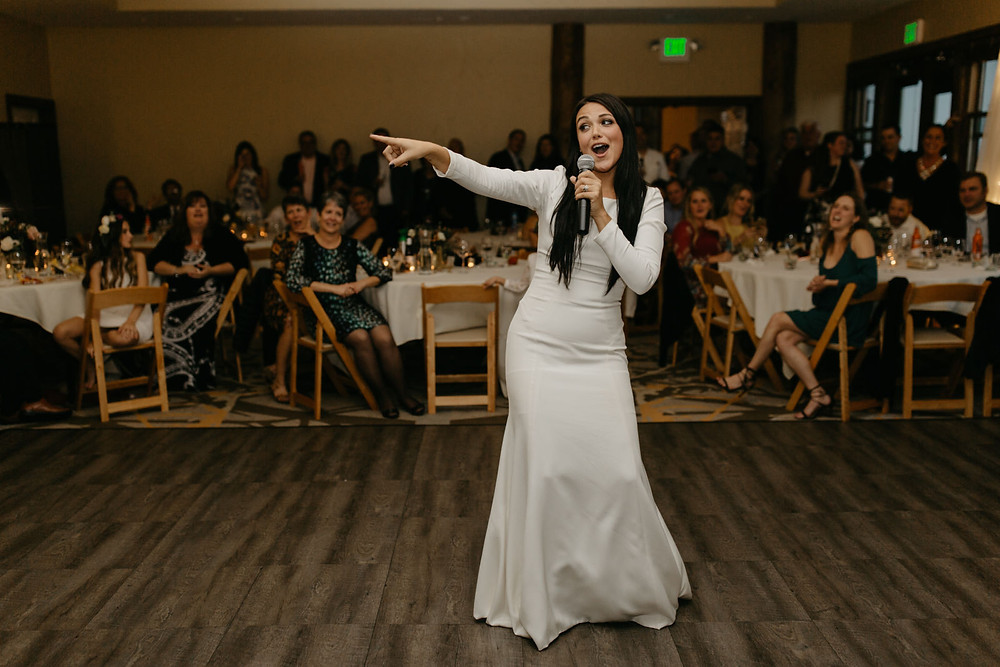 The Lodge at Breckenridge Wedding - Breckenridge Wedding Planner - Bride Singing