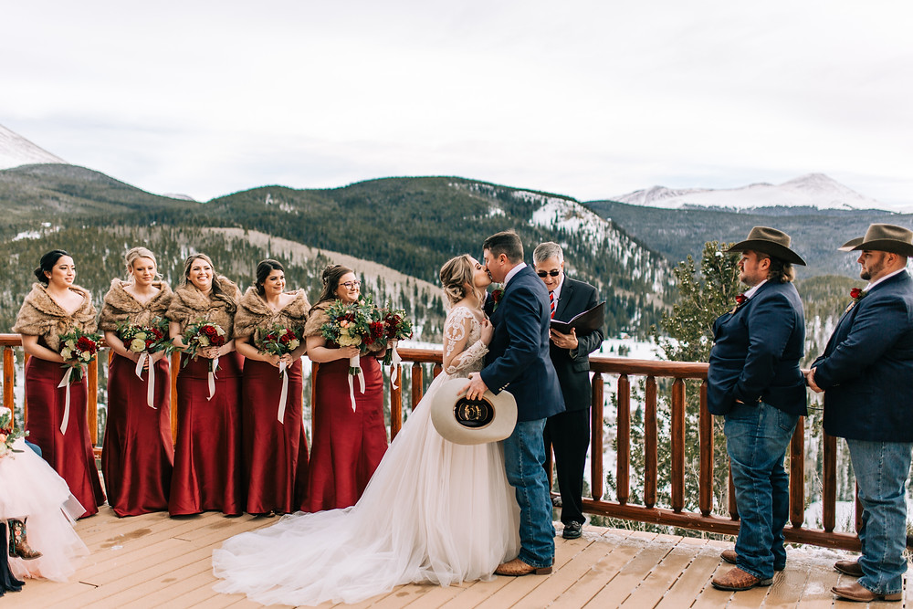 The Lodge at Breckenridge Wedding - Breckenridge Wedding - First Kiss