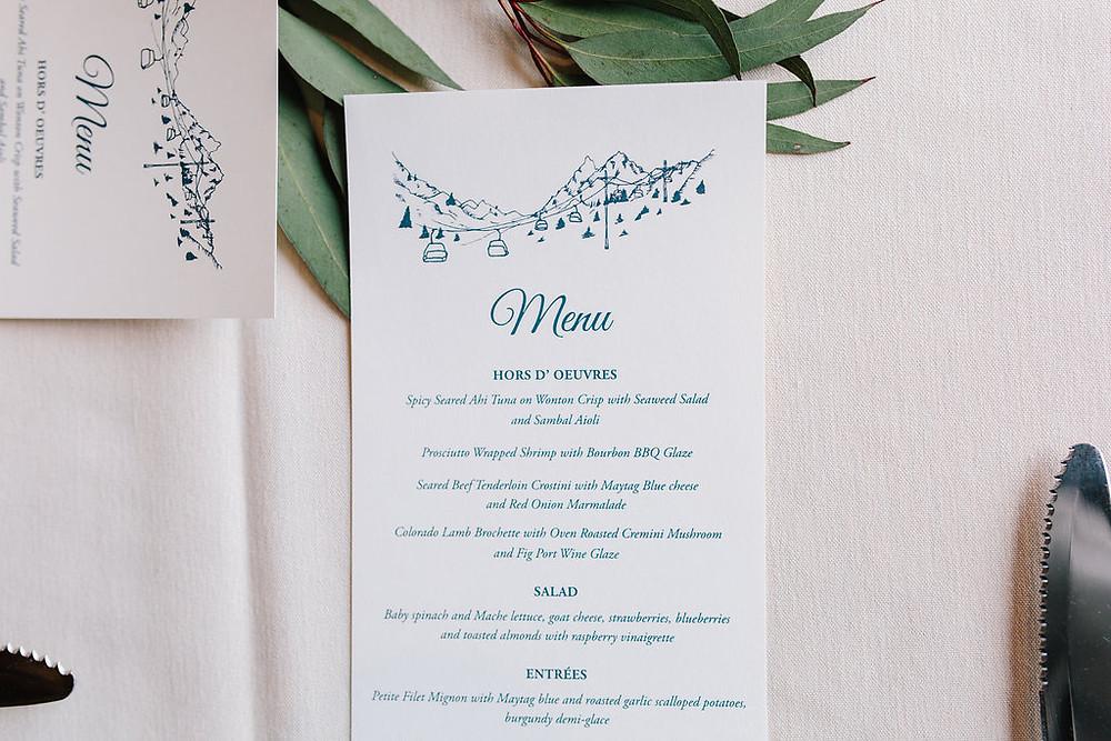 Breckenridge Wedding Planner - Ten Mile Station Wedding - Wedding Menu