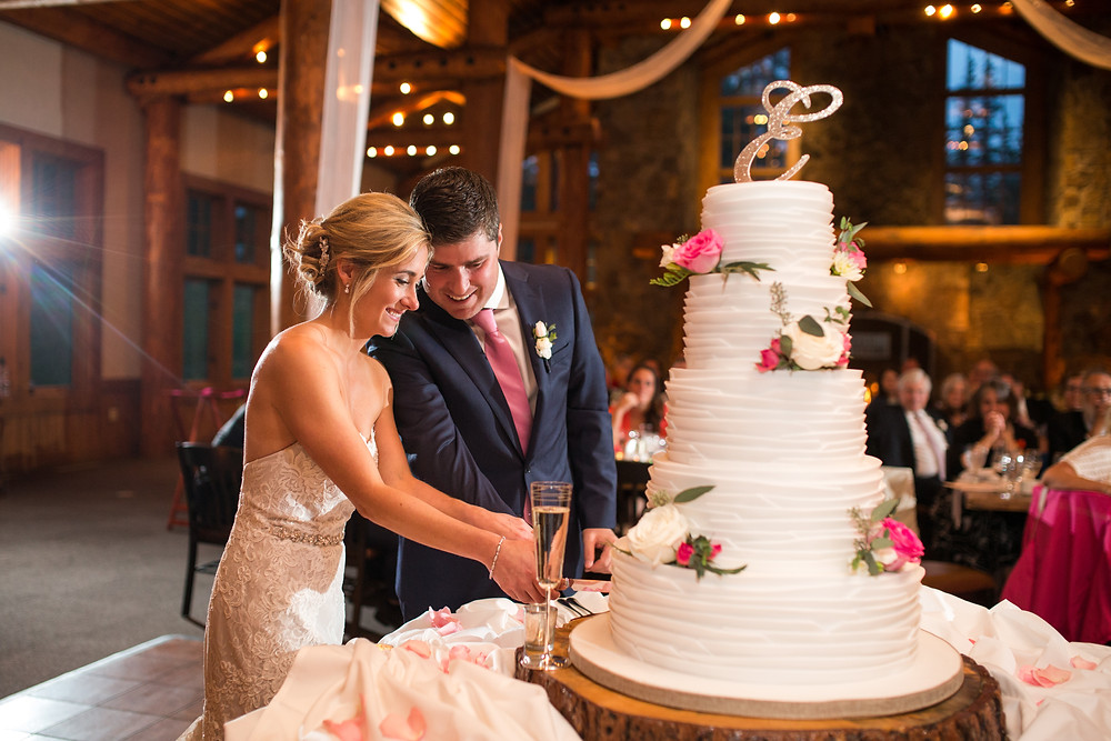 Colorado Wedding Couple - Colorado Wedding Cake Cutting