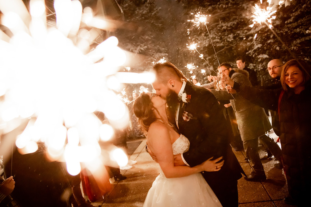 Silverthorne Pavilion Wedding - Sparkler Exit - Winter Wedding