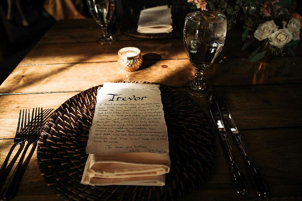 Keystone Wedding Planner - Timber Ridge Wedding - Place Setting