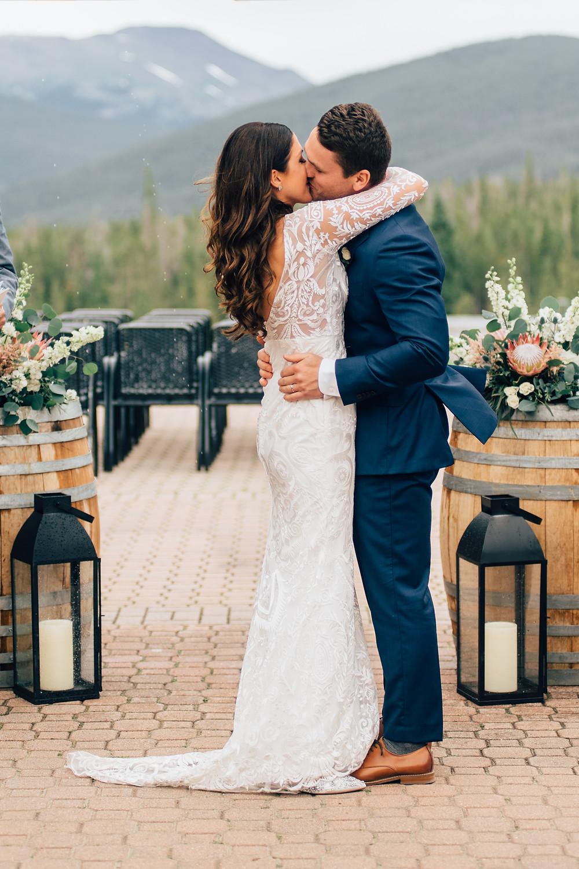 Breckenridge Wedding Ceremony First Kiss