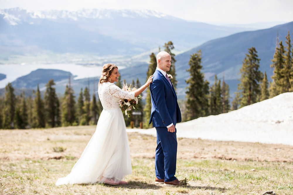 Keystone Wedding, First Look, Ski Tip Lodge Wedding