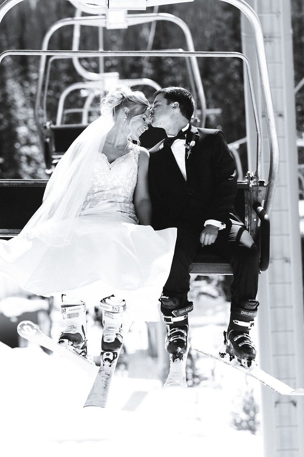 Colorado Winter Wedding - Colorado Winter Wedding Couple on a Ski Lift