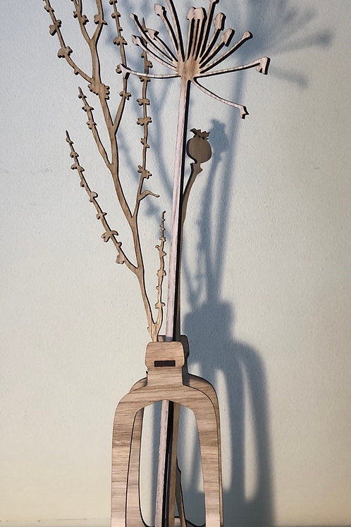'Extraordinary ordinary' laser cut oak stems (set 2)