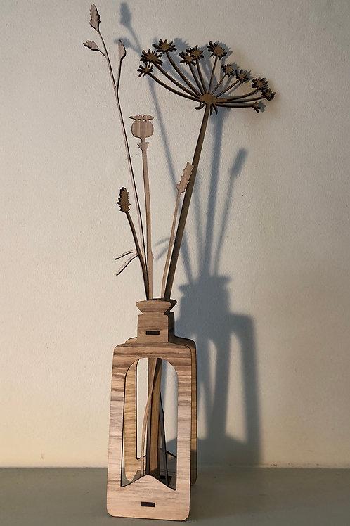'Extraordinary ordinary' stems and bottle laser cut oak set 1