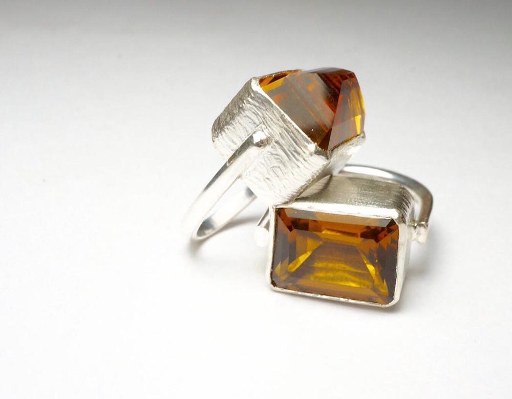 citrine  silver ring      Laure Filho