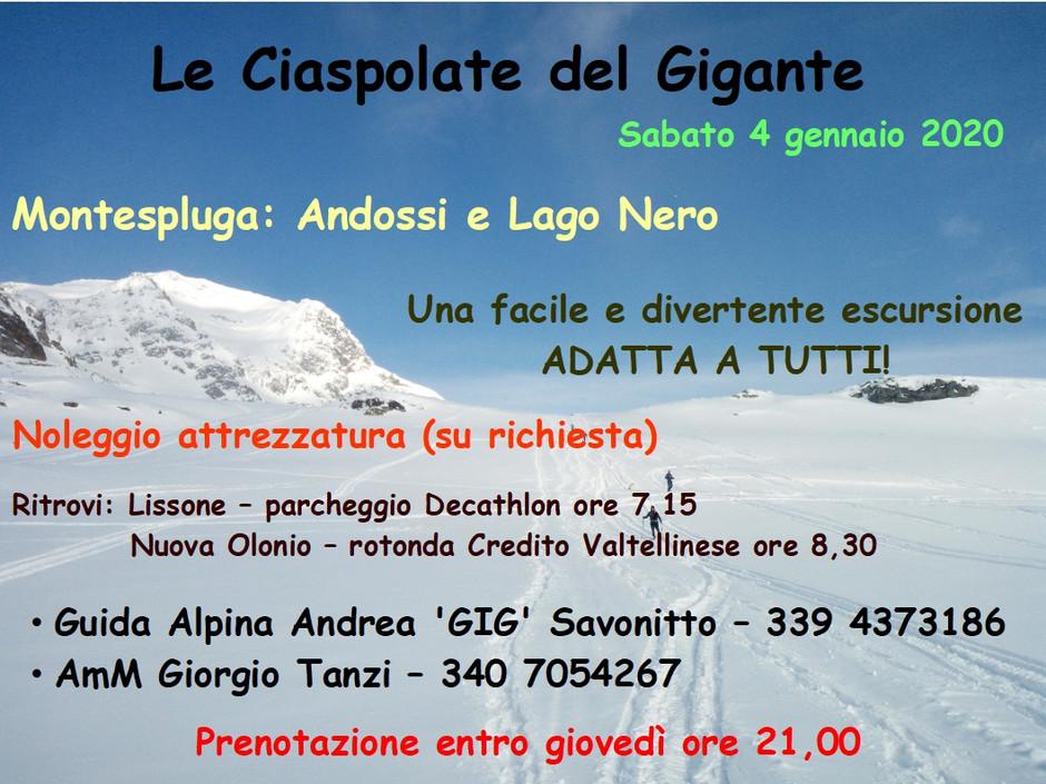 Ciaspolata al Lago Nero degli Andossi (Montespluga) - sabato 4 gennaio