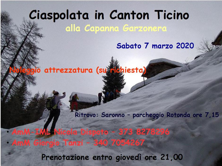 Ciaspolata alla Capanna Garzonera, Canton Ticino (Svizzera) - Sabato 7 marzo