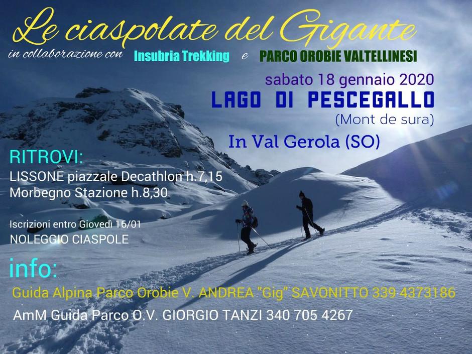 Ciaspolata al Lago di Pescegallo, Mont de Sura - Val Gerola - sabato 18 gennaio