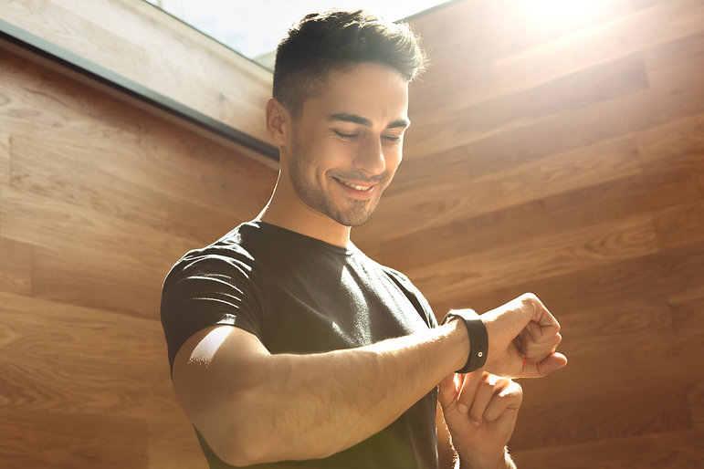 Young man exercise in the gym healthy li