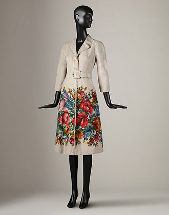 FLOWER PRINT LINEN COAT  (WOMANS)