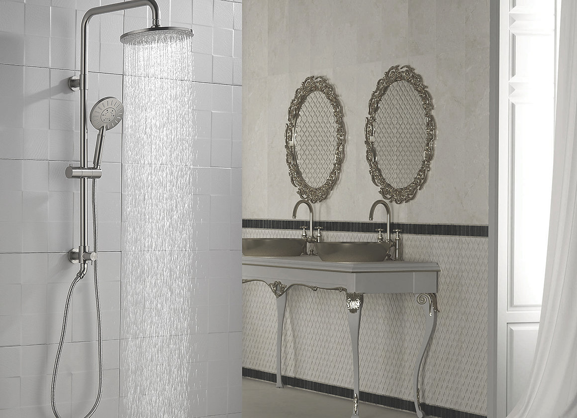 Shower System With 3 Spray Handheld Shower Head And Rain Shower Head Combo Set