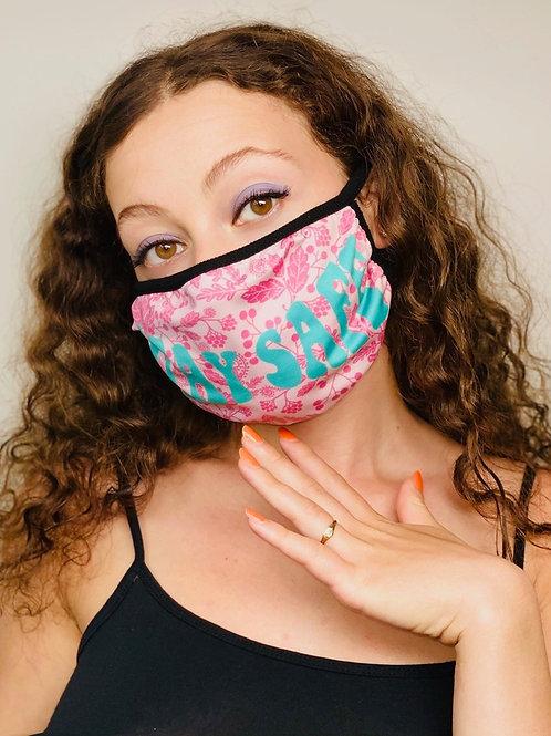 """""""Stay Safe"""" Blue/Pink Floral Fashion Mask"""