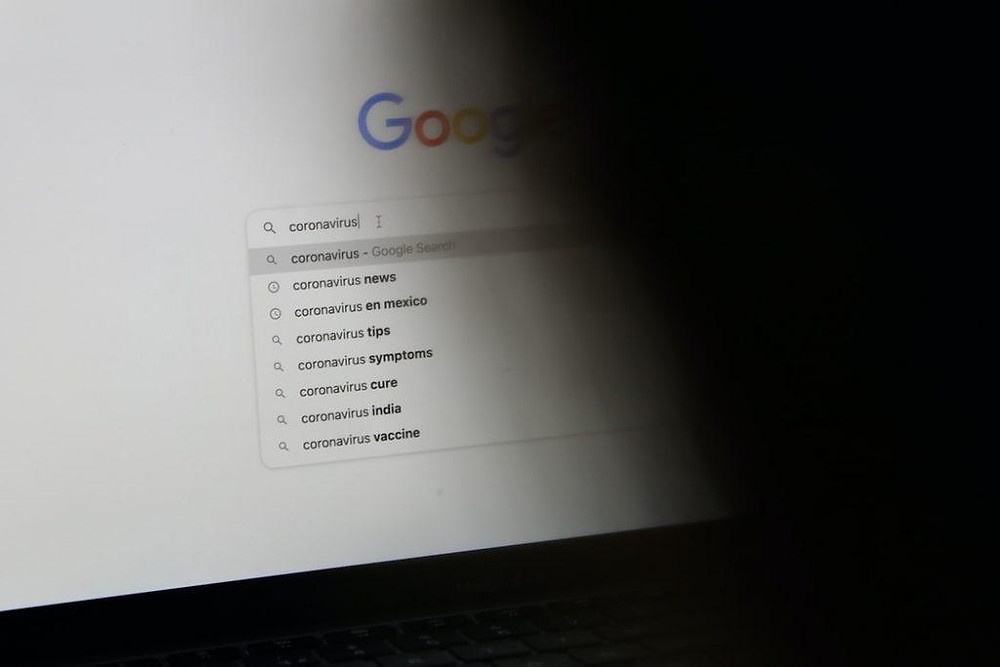 "Person searching ""coronavirus"" on Google."