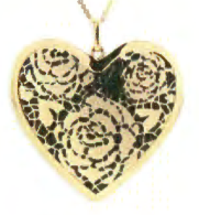Toscano Collection Flower Heart Pendant 14K