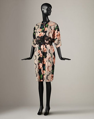 ROSE PRINT AND LACE WRAP COAT  (WOMANS)
