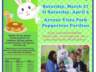 "City of Moorpark Hosts ""Breakfast with Bunny"" on March 27th and April 3rd"