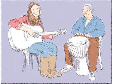 samen muziek maken met mensen met dementie geeft mooie contactmomenten