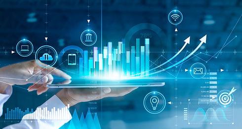 _Businessman using tablet analyzing sale