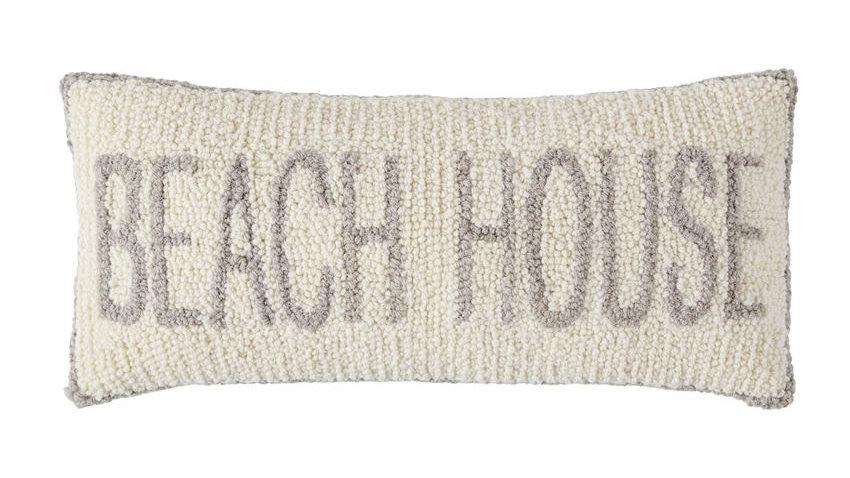 Beach House Hooked Pillow