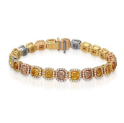 18K FANCY COLOR DIAMOND BRACELET