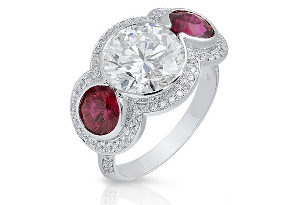 18K DIAMOND RING WITH RED RUBIES