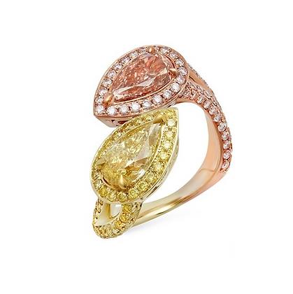 18K TWO-TONE FANCY DIAMOND RING