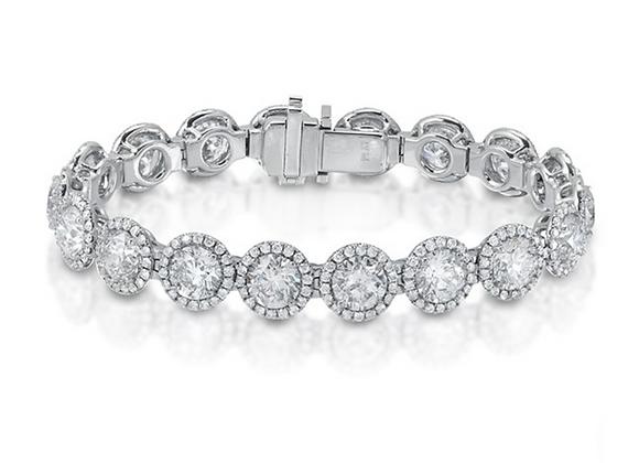 PLATINUM DIAMOND BRACELET 45.2GM - 18RD 21.91CTS, 324RD 3.01CTS