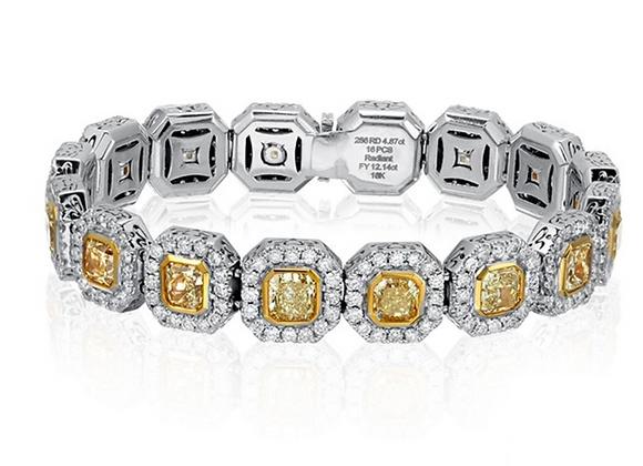 18K DIAMOND BRACELET WITH YELLOW DIAMONDS