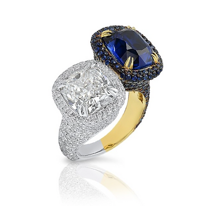 18K TWO-TONE DIAMOND AND BLUE SAPPHIRE RING