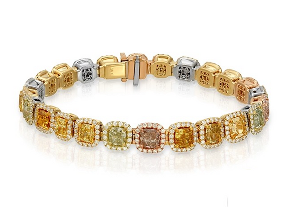 18K FANCY COLOR DIAMOND BRACELET