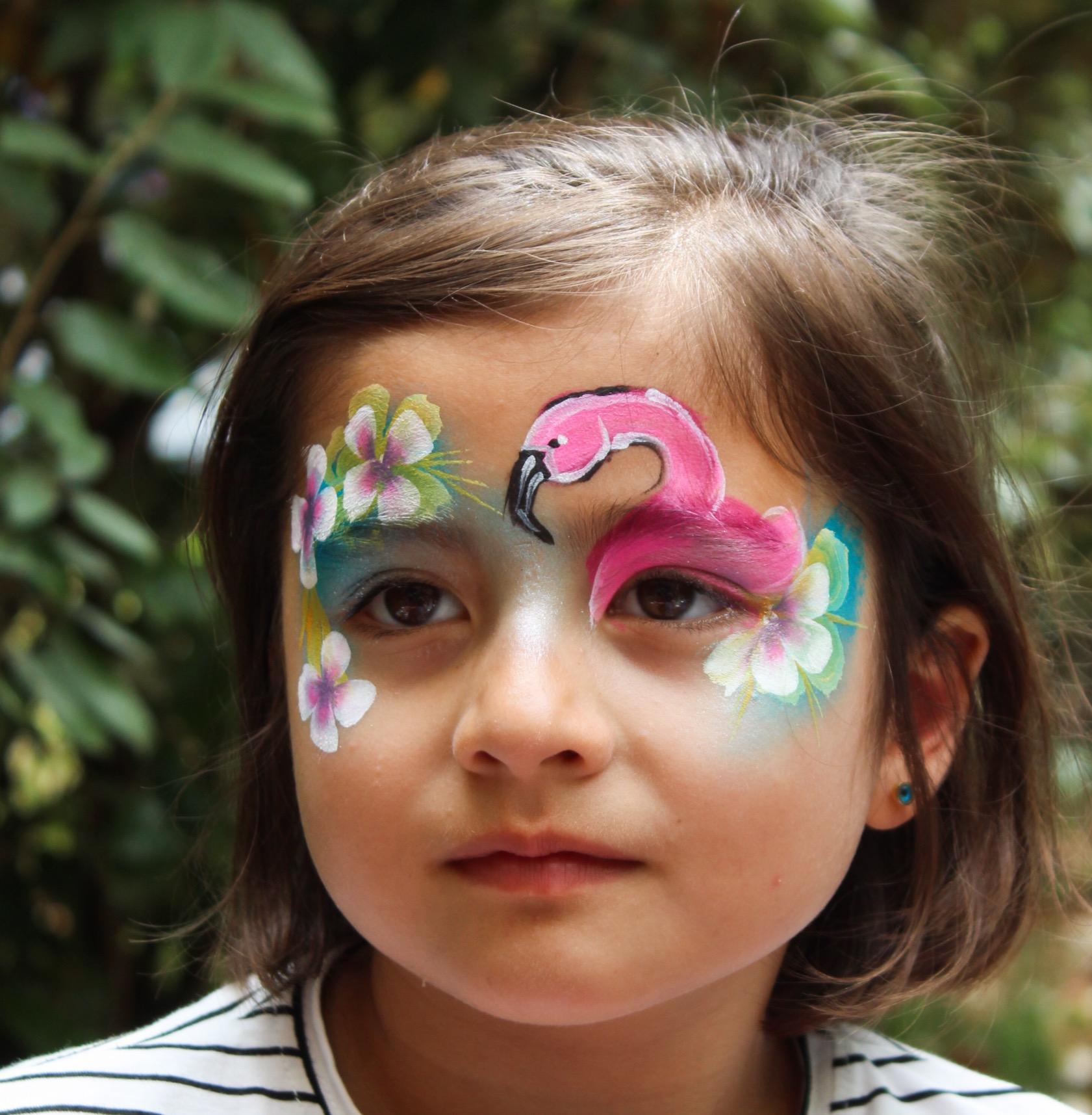 tropical flamingo face paint