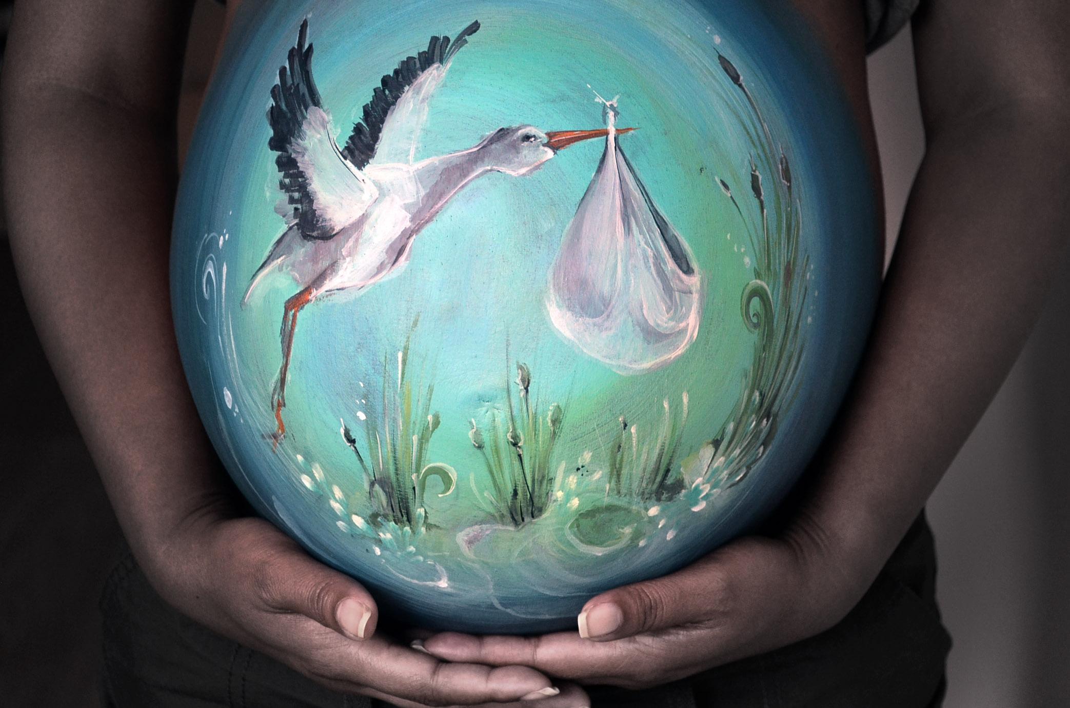 Stork bellypaint / ooievaar bellypai