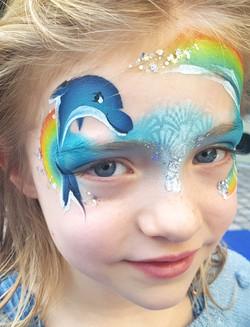 dolphin rainbow facepaint 1
