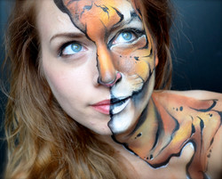 Half tiger woman face paint